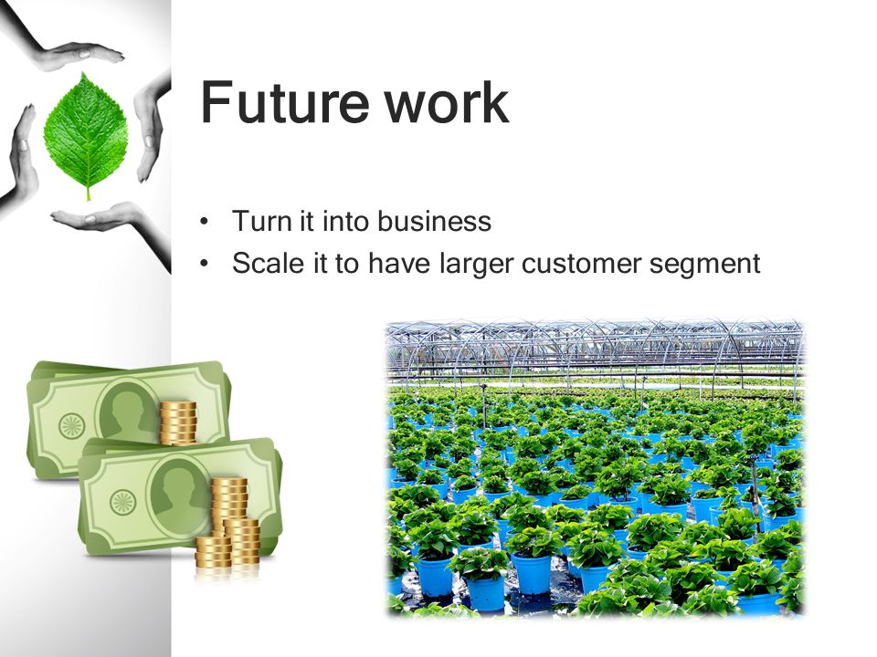 Future work Turn it into business Scale it to have larger customer segment