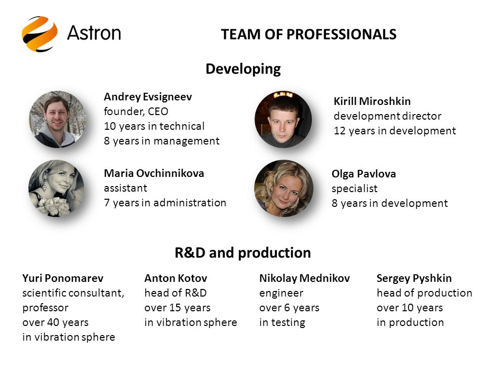 TEAM OF PROFESSIONALS Developing R&D and production Andrey Evsigneev founder, CEO 10 years in technical 8 years in management Kirill Miroshkin development director 12 years in development Olga Pavlova specialist 8 years in development Maria Ovchinnikova assistant 7 years in administration Yuri Ponomarev scientific consultant, professor over 40 years in vibration sphere Anton Kotov head of R&D over 15 years in vibration sphere Sergey Pyshkin head of production over 10 years in production Nikolay Mednikov engineer over 6 years in testing