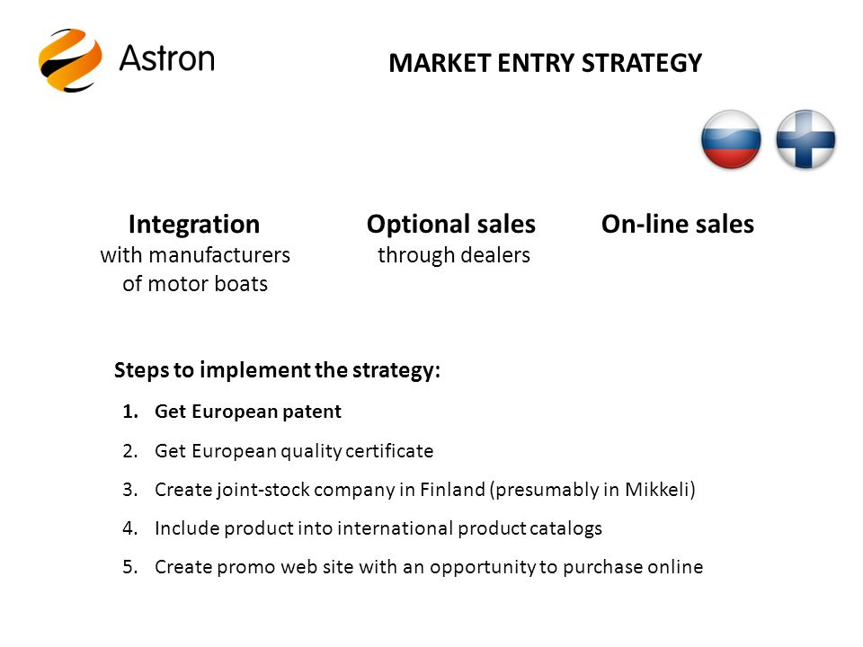 MARKET ENTRY STRATEGY Integration with manufacturers of motor boats Optional sales through dealers On-line sales Steps to implement the strategy: 1.Get European patent 2.Get European quality certificate 3.Create joint-stock company in Finland (presumably in Mikkeli) 4.Include product into international product catalogs 5.Create promo web site with an opportunity to purchase online