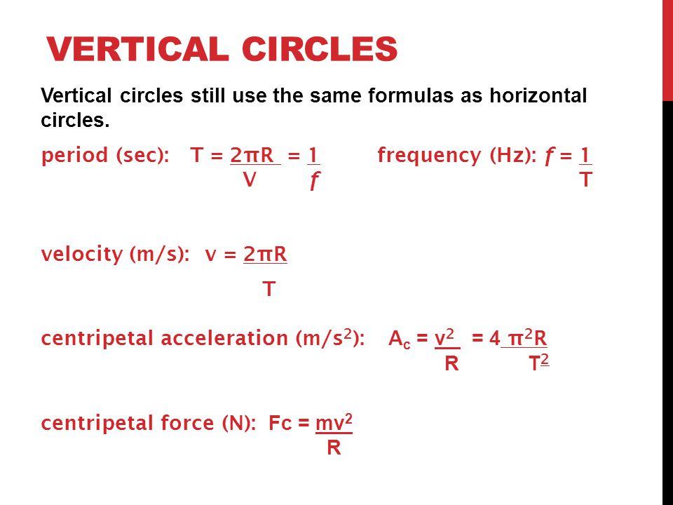 VERTICAL CIRCLES Vertical circles still use the same formulas as horizontal circles.