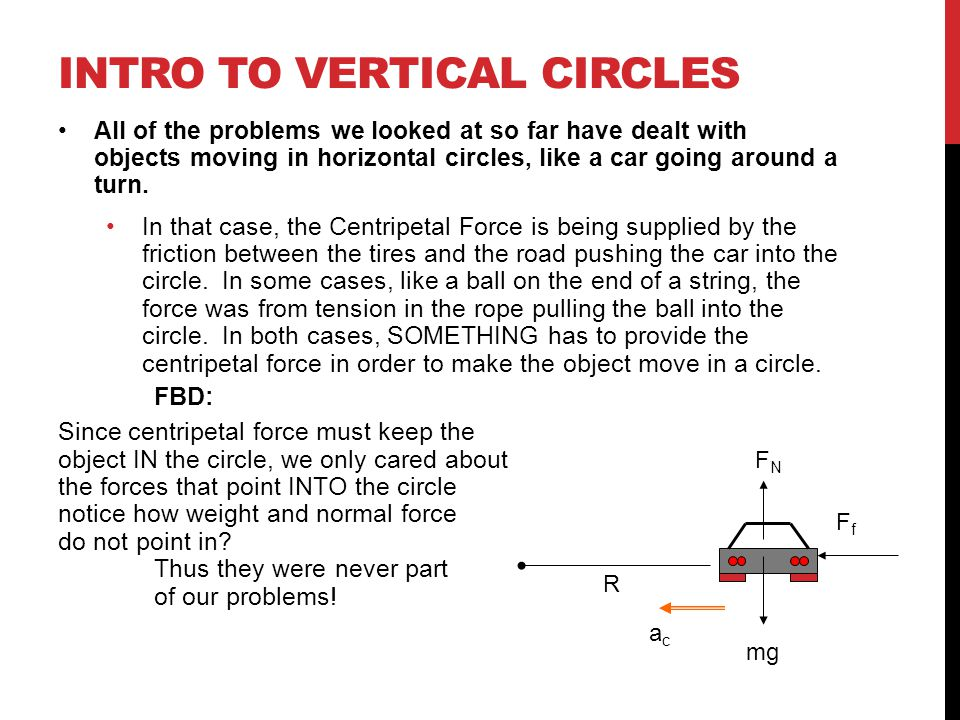 INTRO TO VERTICAL CIRCLES All of the problems we looked at so far have dealt with objects moving in horizontal circles, like a car going around a turn.