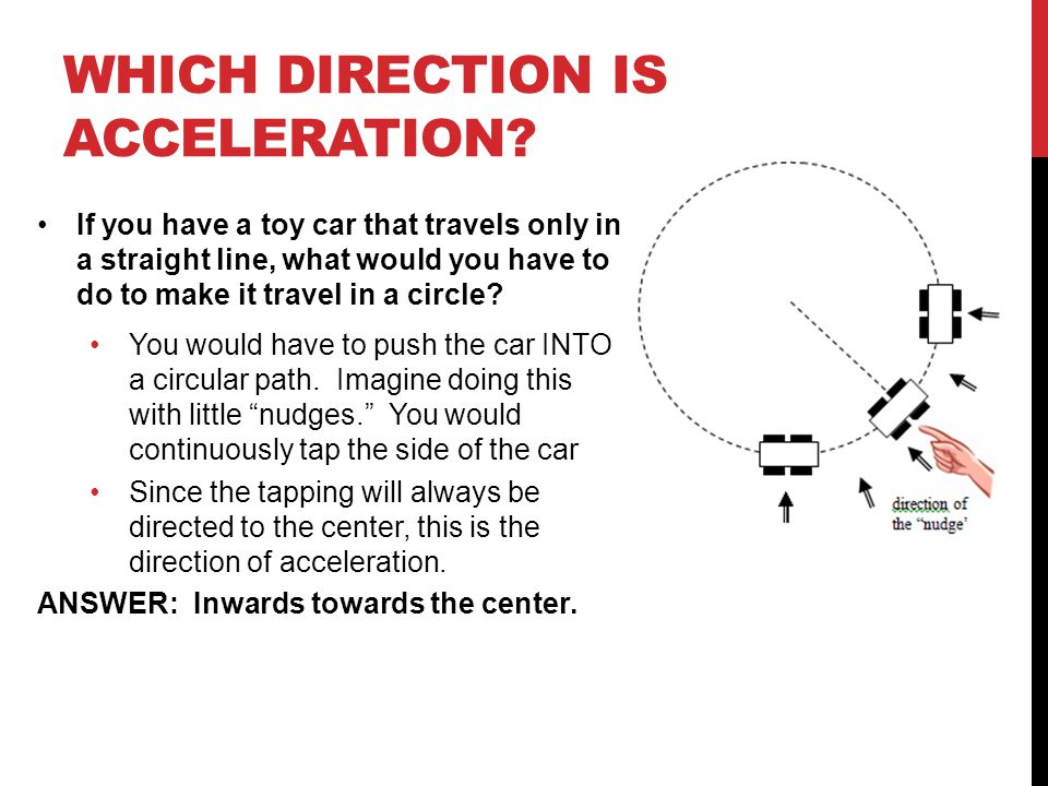 WHICH DIRECTION IS ACCELERATION.