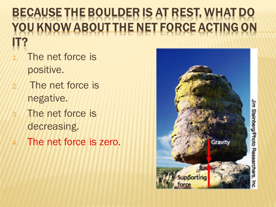 1. The net force is positive. 2. The net force is negative.