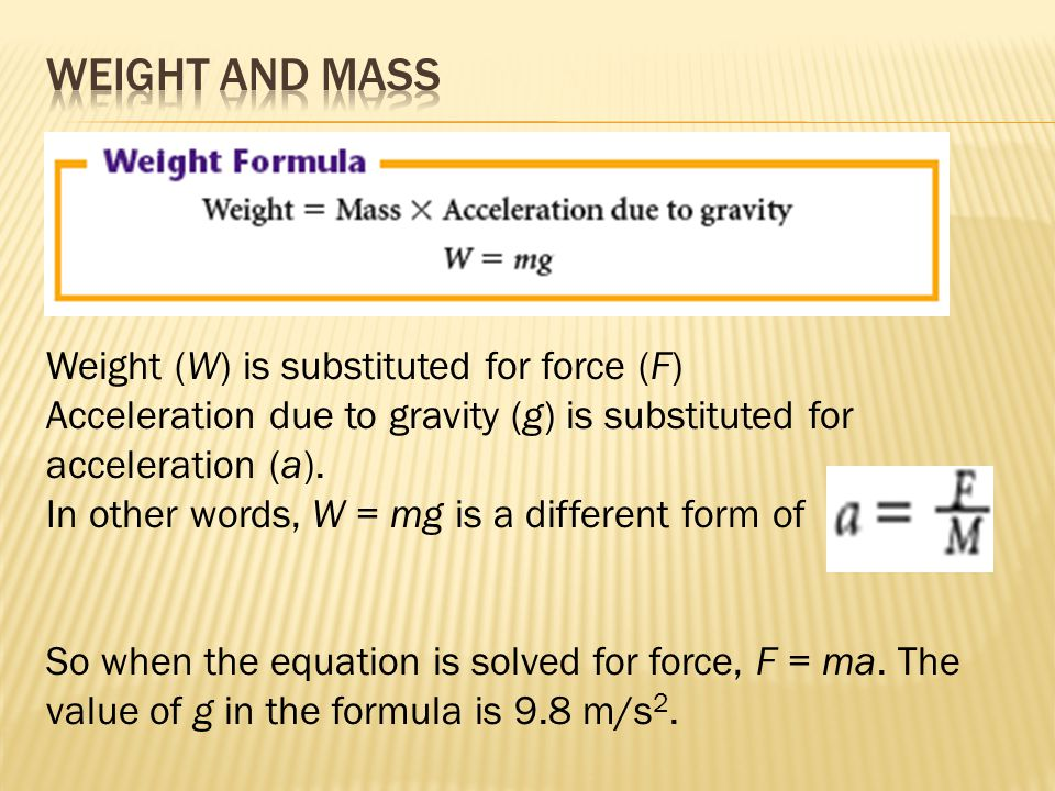 Weight (W) is substituted for force (F) Acceleration due to gravity (g) is substituted for acceleration (a).