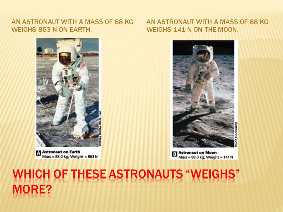 AN ASTRONAUT WITH A MASS OF 88 KG WEIGHS 863 N ON EARTH.