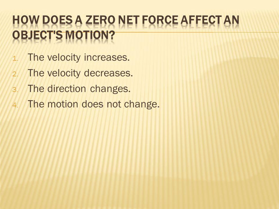 1. The velocity increases. 2. The velocity decreases.