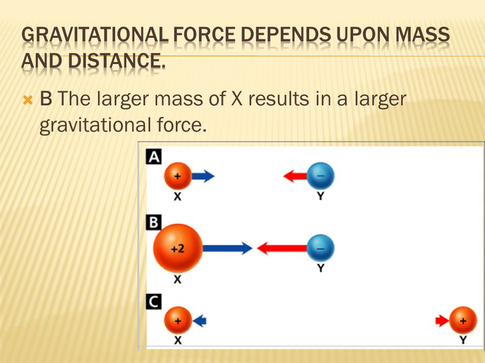  B The larger mass of X results in a larger gravitational force.
