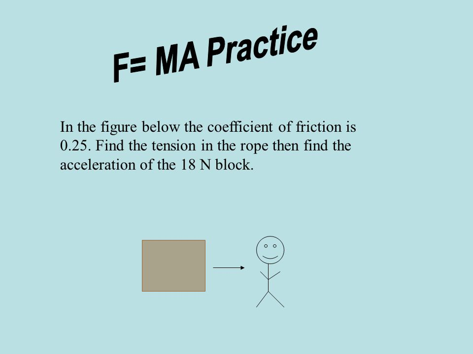 Warm Up 1. A 30 N block has a coefficient of friction of 0.26. What force is required to slide it along a level surface at constant velocity? 2. A 35