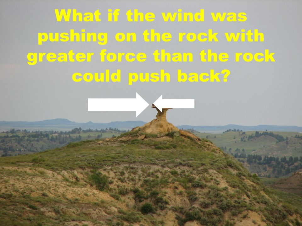 What if the wind was pushing on the rock with greater force than the rock could push back