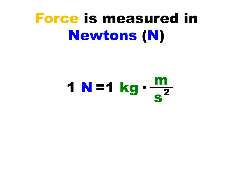 Force is measured in Newtons (N) 1 N=1 kg∙ m s 2