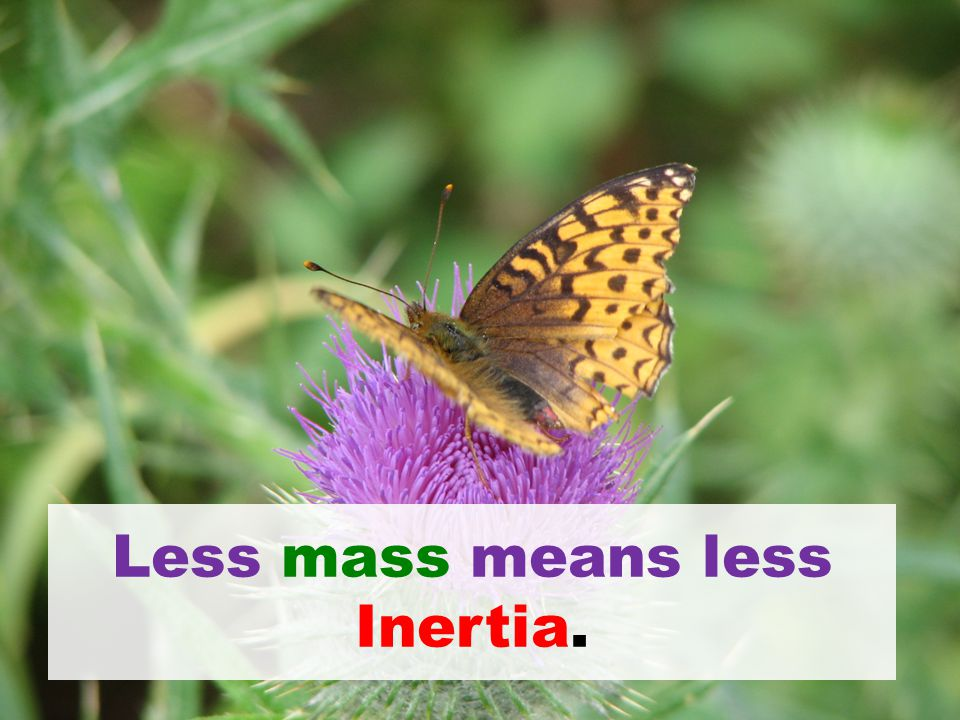 Less mass means less Inertia.