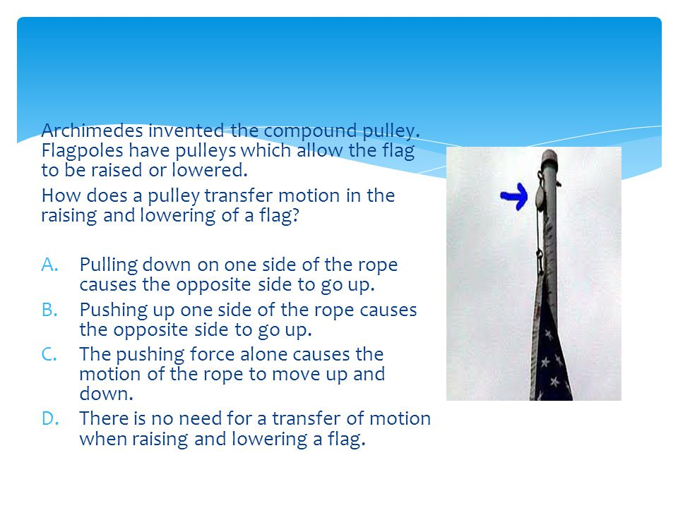 Archimedes invented the compound pulley.