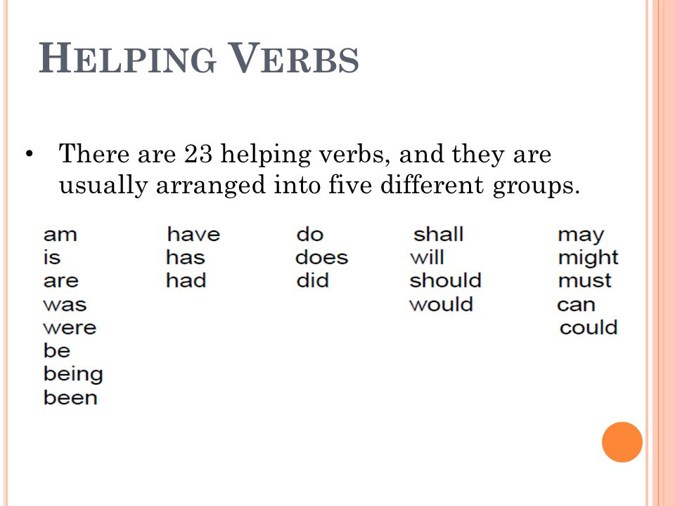 H ELPING V ERBS There are 23 helping verbs, and they are usually arranged into five different groups.