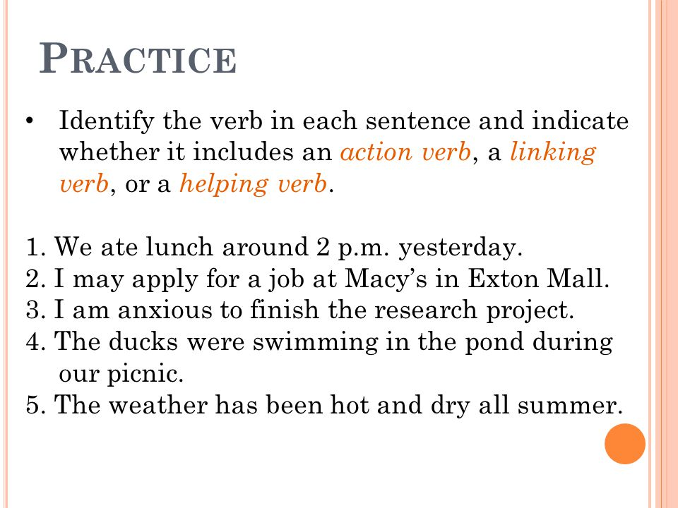 P RACTICE Identify the verb in each sentence and indicate whether it includes an action verb, a linking verb, or a helping verb.