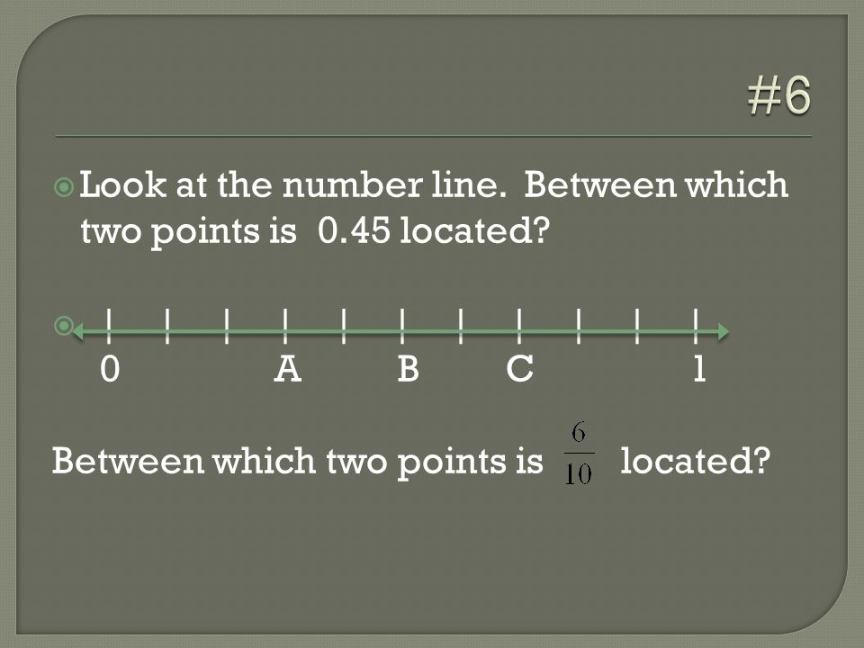  Look at the number line. Between which two points is 0.45 located.