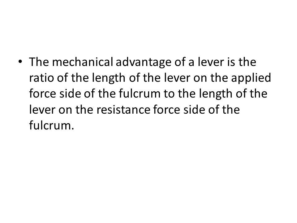 Fulcrum is between EF (effort) and RF (load) Effort moves farther than Resistance.