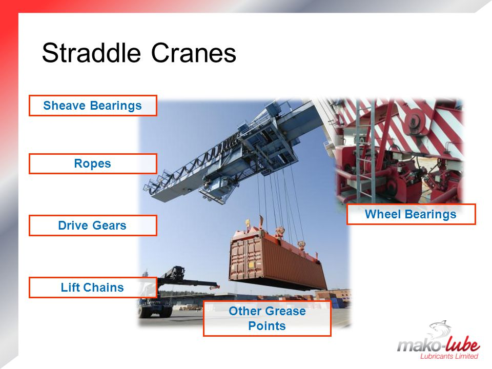 Straddle Cranes Straddle Cranes Lift Chains Drive Gears Ropes Sheave Bearings Other Grease Points Wheel Bearings