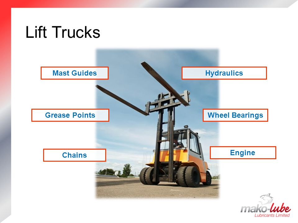 Lift Trucks Lift Trucks Hydraulics Grease PointsWheel Bearings Chains Mast Guides Engine