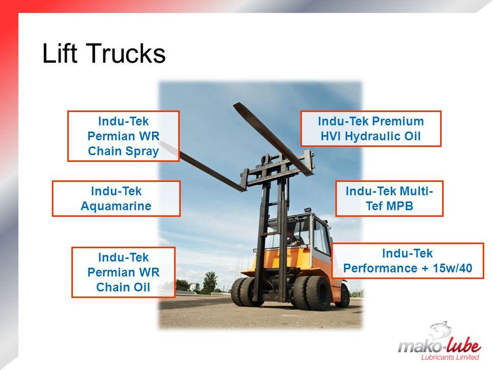 Lift Trucks Lift Trucks Indu-Tek Premium HVI Hydraulic Oil Indu-Tek Aquamarine Indu-Tek Multi- Tef MPB Indu-Tek Permian WR Chain Oil Indu-Tek Permian WR Chain Spray Indu-Tek Performance + 15w/40