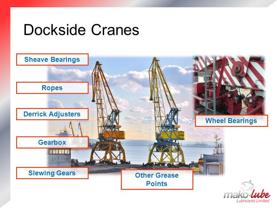 Dockside Cranes Dockside Cranes Slewing Gears Gearbox Wheel Bearings Ropes Sheave Bearings Other Grease Points Derrick Adjusters