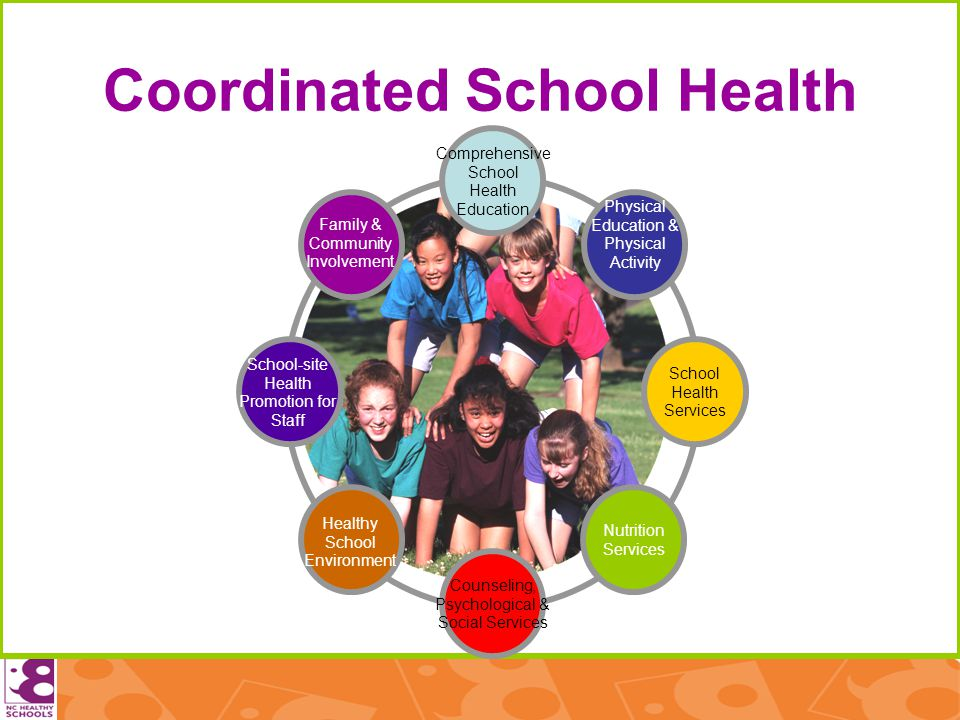 Coordinated School Health Family & Community Involvement Physical Education & Physical Activity Nutrition Services Counseling, Psychological & Social Services Comprehensive School Health Education Healthy School Environment School-site Health Promotion for Staff School Health Services