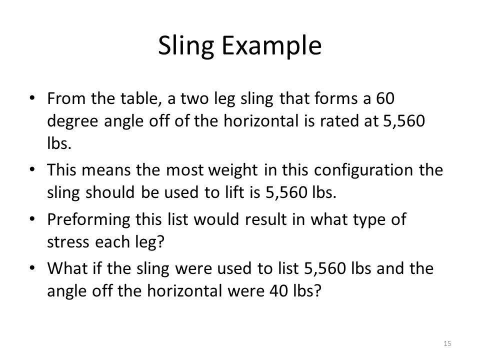 Sling Example From the table, a two leg sling that forms a 60 degree angle off of the horizontal is rated at 5,560 lbs.