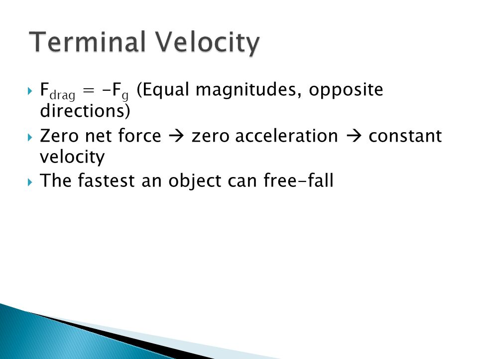  F drag = -F g (Equal magnitudes, opposite directions)  Zero net force  zero acceleration  constant velocity  The fastest an object can free-fall