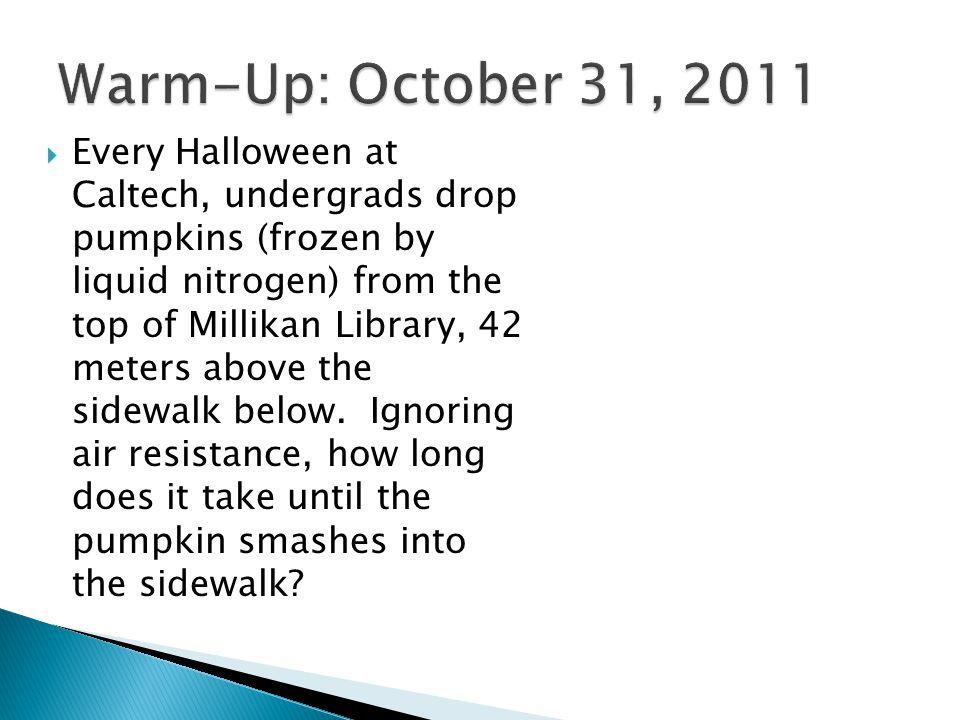  Every Halloween at Caltech, undergrads drop pumpkins (frozen by liquid nitrogen) from the top of Millikan Library, 42 meters above the sidewalk belo
