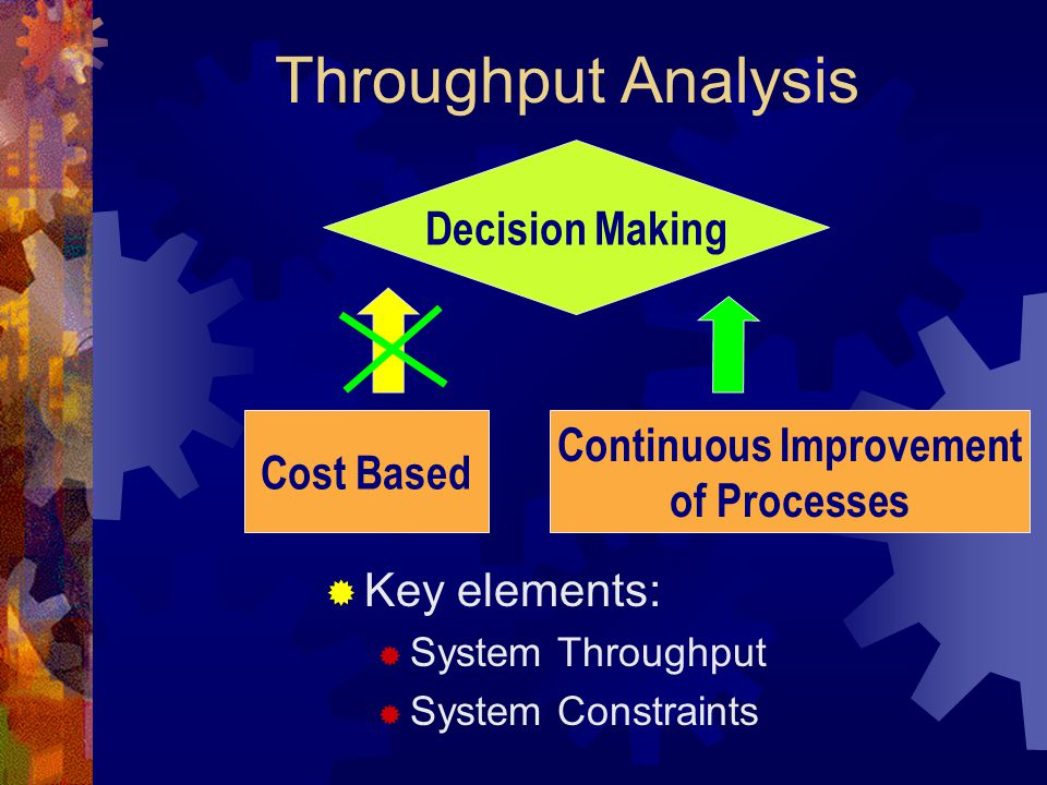Throughput Analysis  Key elements:  System Throughput  System Constraints Decision Making Cost Based Continuous Improvement of Processes