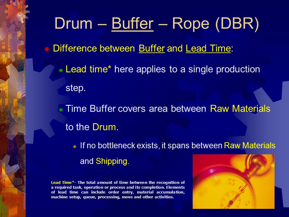 Drum – Buffer – Rope (DBR)  Difference between Buffer and Lead Time:  Lead time* here applies to a single production step.  Time Buffer covers area