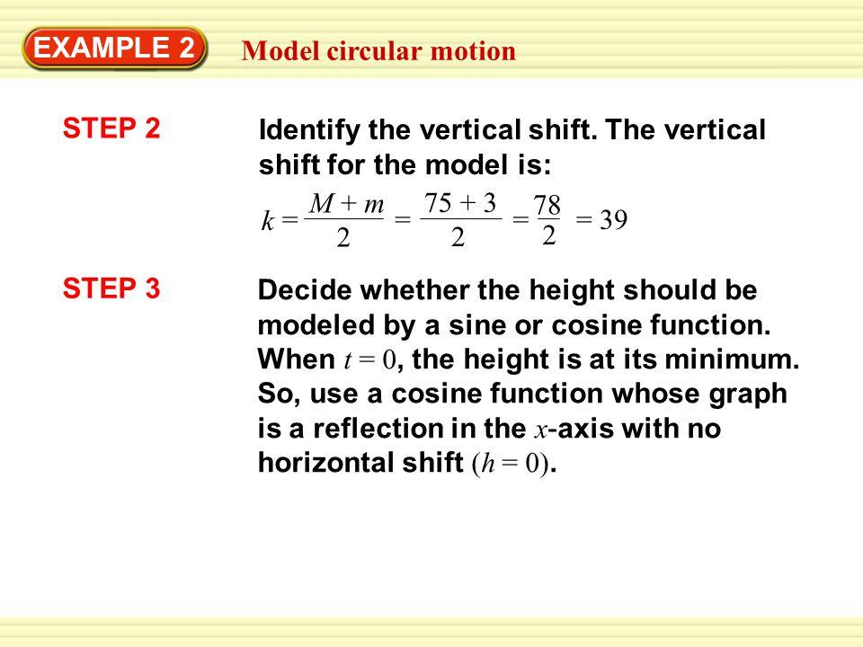 EXAMPLE 2 Model circular motion STEP 2 Identify the vertical shift. The vertical shift for the model is: k M + m 2 = 75 + 3 2 = = 78 2 = 39 STEP 3 Dec