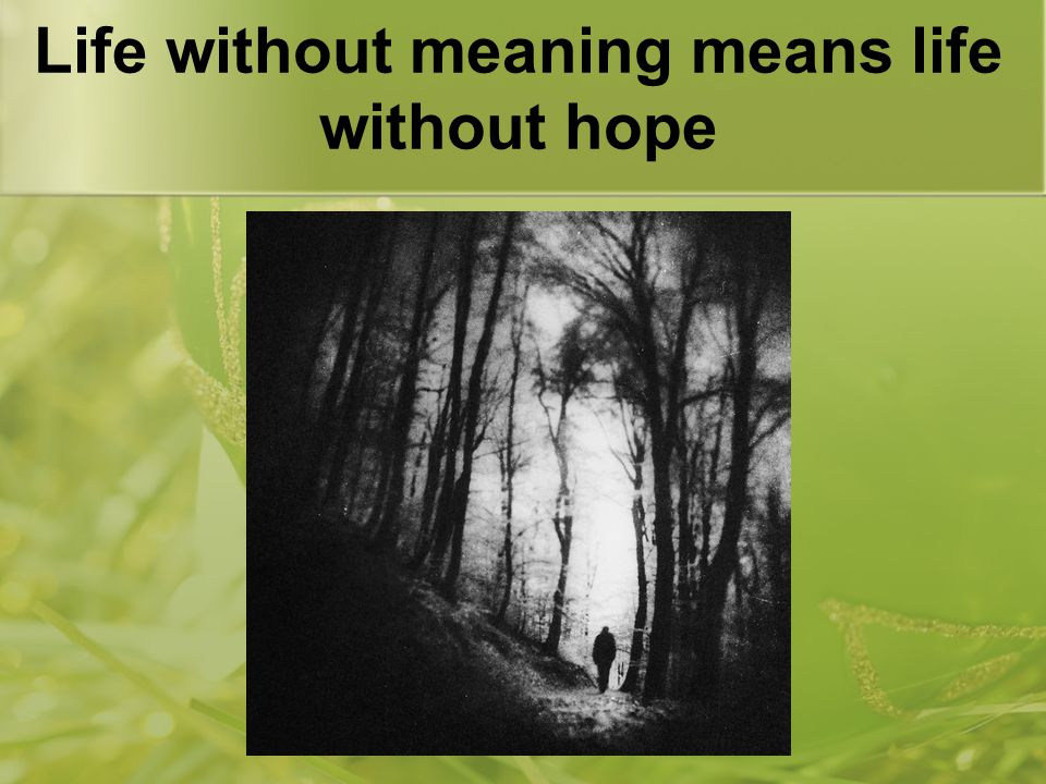 Life without meaning means life without hope