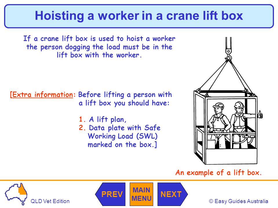 © Easy Guides AustraliaQLD Vet Edition MAIN MENU NEXTPREV Hoisting a worker in a crane lift box If a crane lift box is used to hoist a worker the person dogging the load must be in the lift box with the worker.