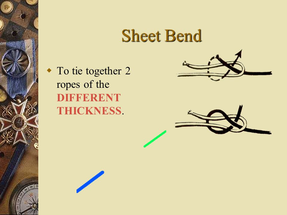 Sheet Bend TT o tie together 2 ropes of the DIFFERENT THICKNESS.