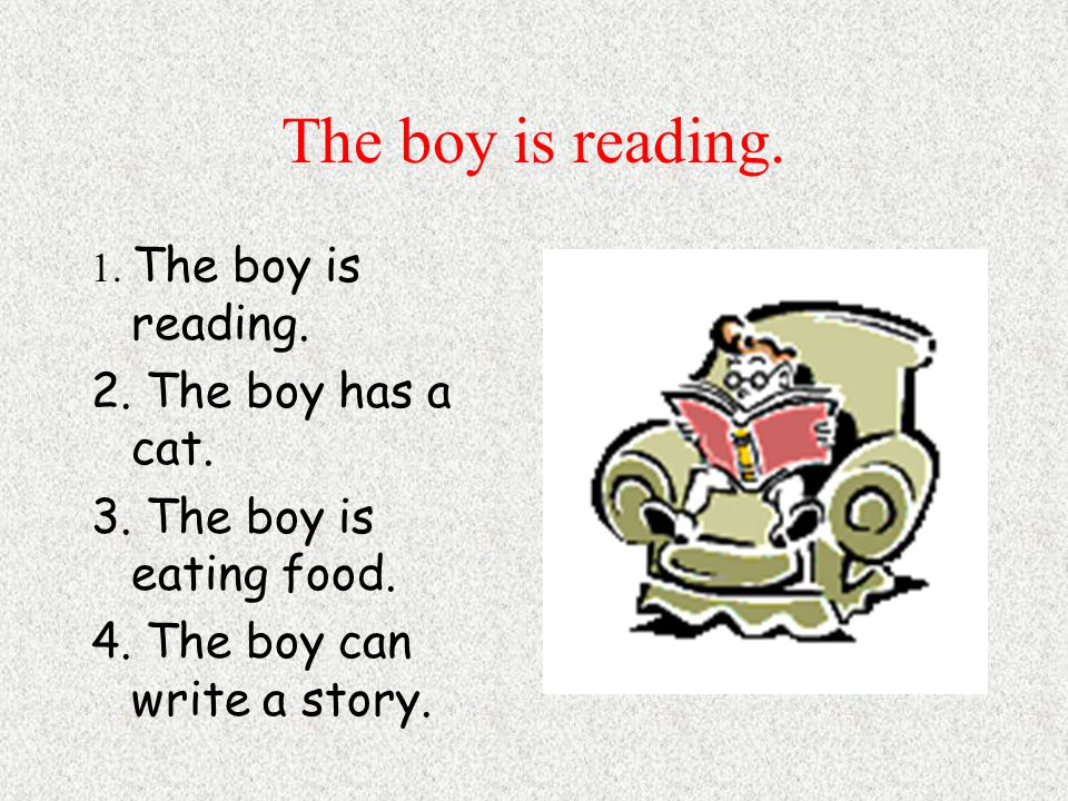 The boy is reading. 1. The boy is reading. 2. The boy has a cat.