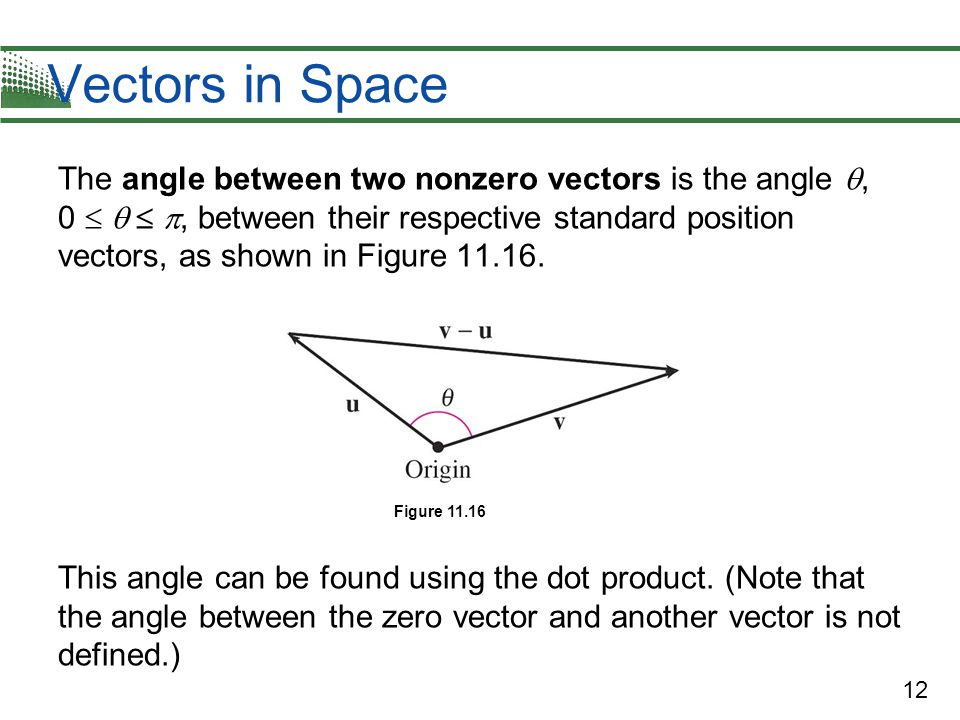 12 Vectors in Space The angle between two nonzero vectors is the angle , 0    , between their respective standard position vectors, as shown in F