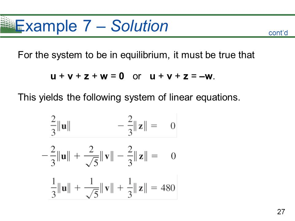 27 Example 7 – Solution For the system to be in equilibrium, it must be true that u + v + z + w = 0 or u + v + z = –w. This yields the following syste
