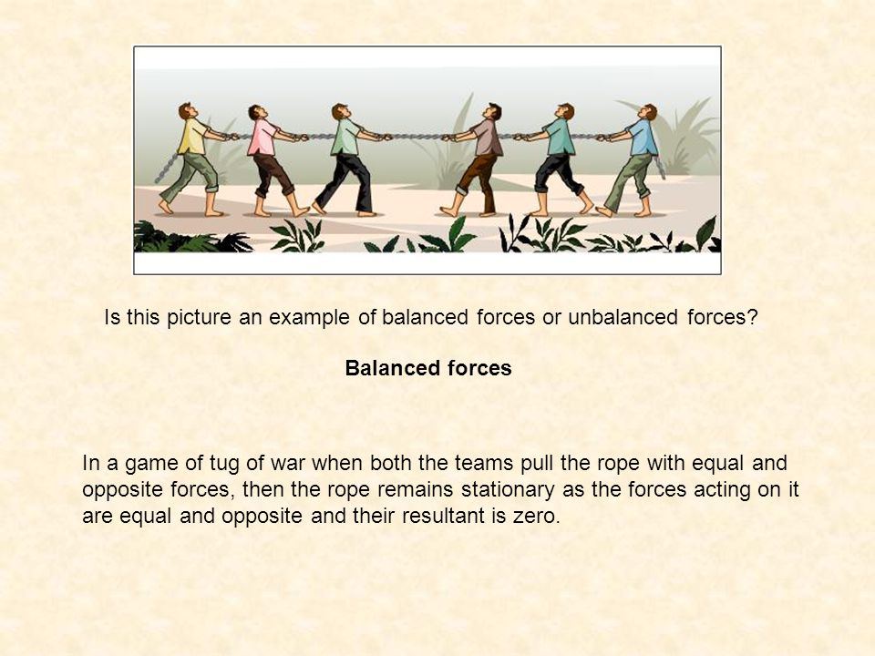 Is this picture an example of balanced forces or unbalanced forces? Balanced forces In a game of tug of war when both the teams pull the rope with equ