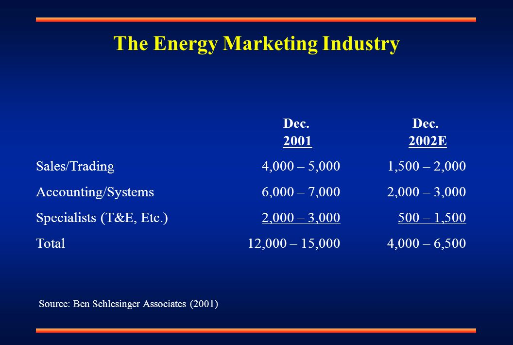 The Energy Marketing Industry Dec. Dec. 2001 2002E Sales/Trading 4,000 – 5,000 1,500 – 2,000 Accounting/Systems 6,000 – 7,000 2,000 – 3,000 Specialist