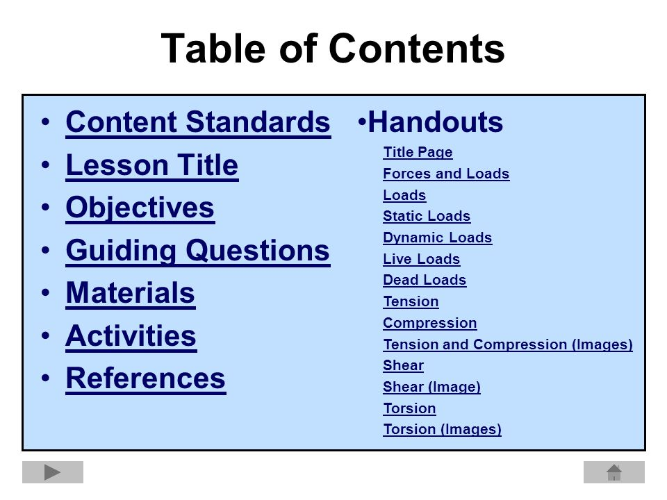 Table of Contents Content Standards Lesson Title Objectives Guiding Questions Materials Activities References Handouts Title Page Forces and Loads Loads Static Loads Dynamic Loads Live Loads Dead Loads Tension Compression Tension and Compression (Images) Shear Shear (Image) Torsion Torsion (Images)
