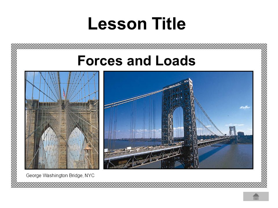 Forces and Loads George Washington Bridge, NYC Lesson Title