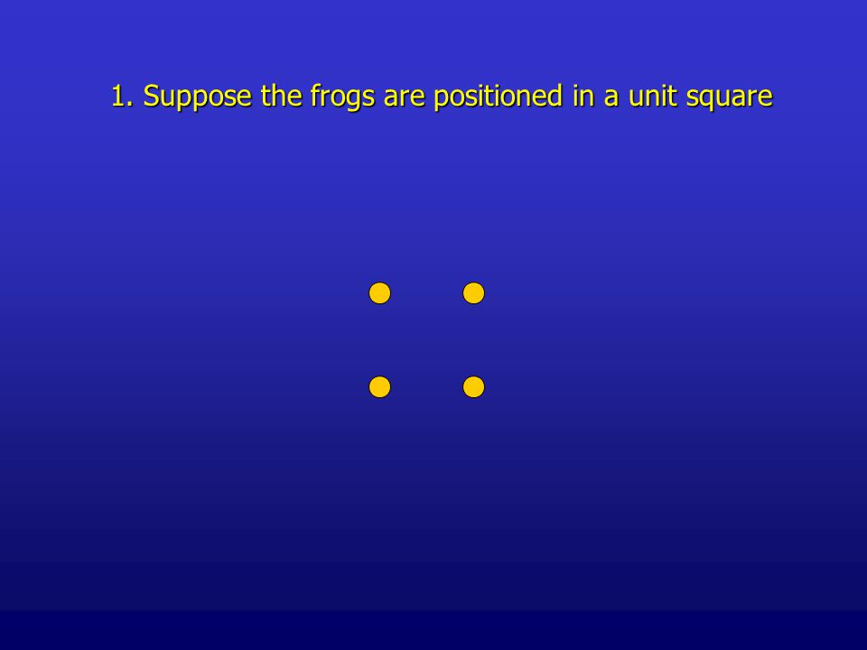 1. Suppose the frogs are positioned in a unit square
