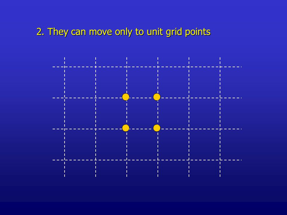 2. They can move only to unit grid points