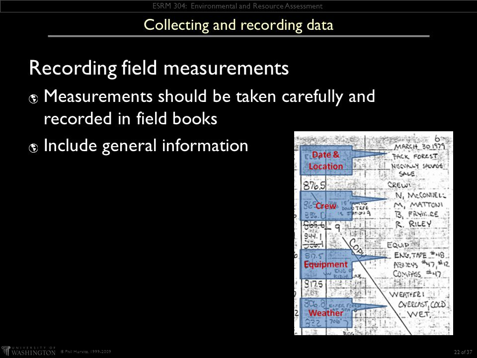 ESRM 304: Environmental and Resource Assessment © Phil Hurvitz, 1999-2009 Recording field measurements  Measurements should be taken carefully and recorded in field books  Include general information 22 of 37 Collecting and recording data