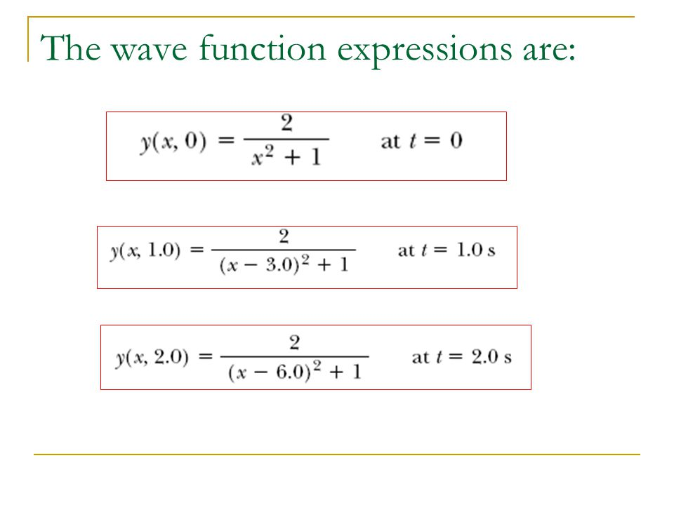 The wave function expressions are: