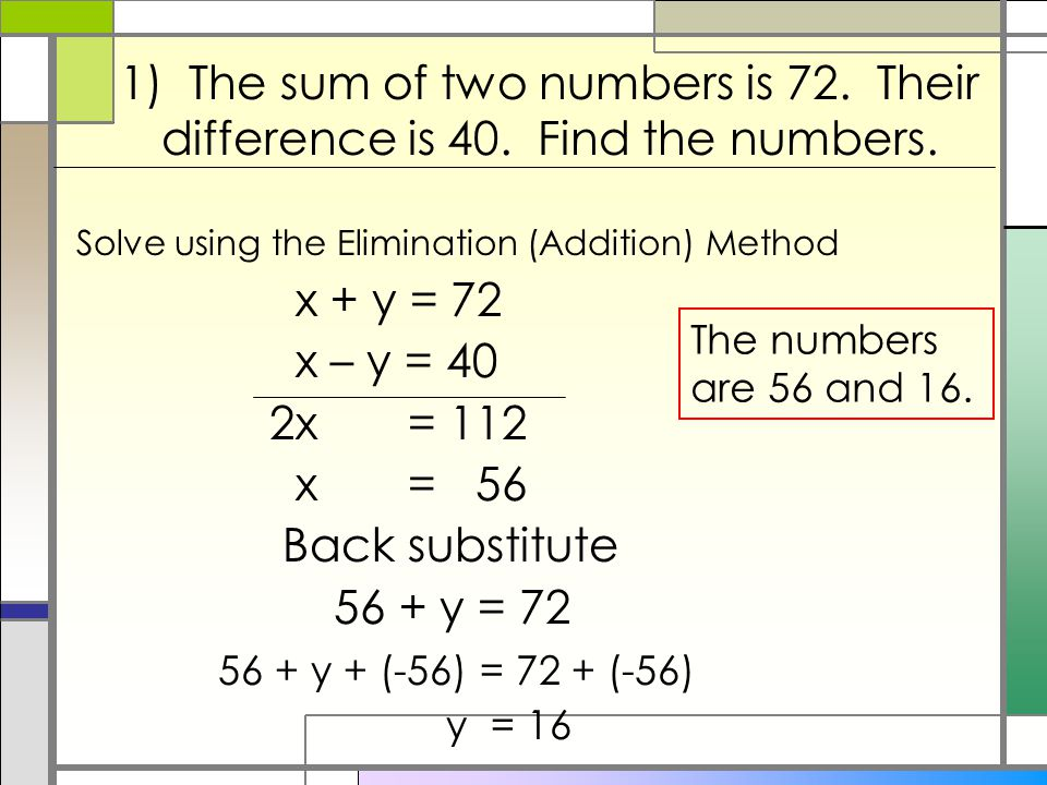 1) The sum of two numbers is 72. Their difference is 40.