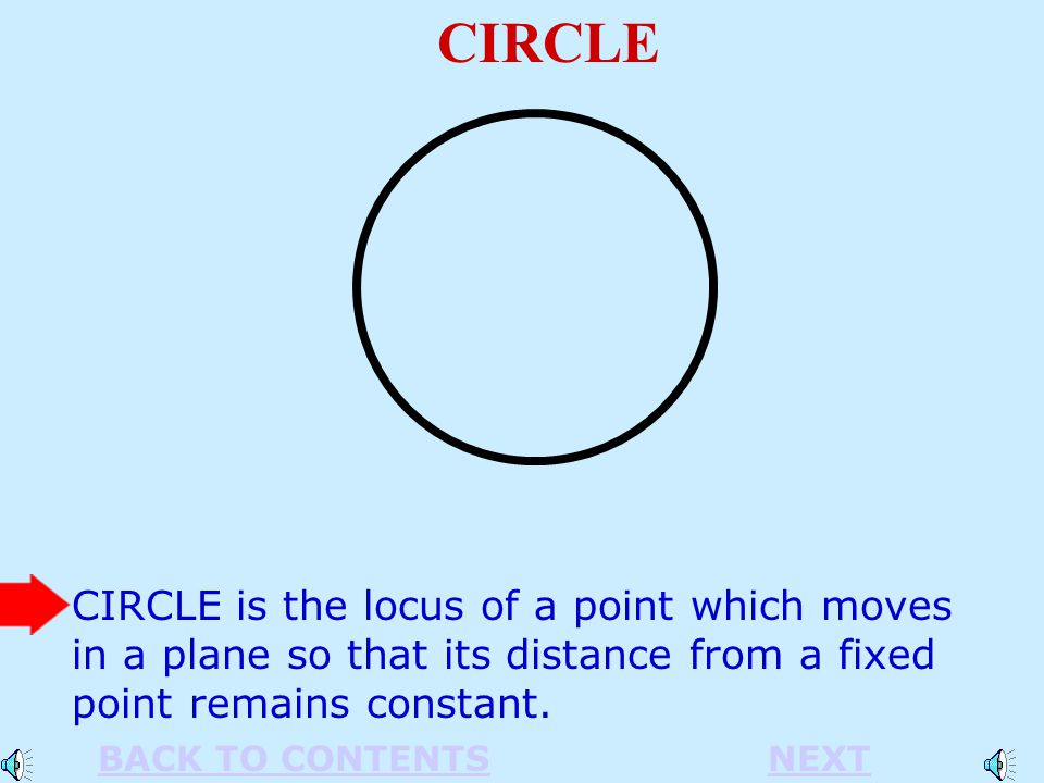 CIRCLE CIRCLE is the locus of a point which moves in a plane so that its distance from a fixed point remains constant.