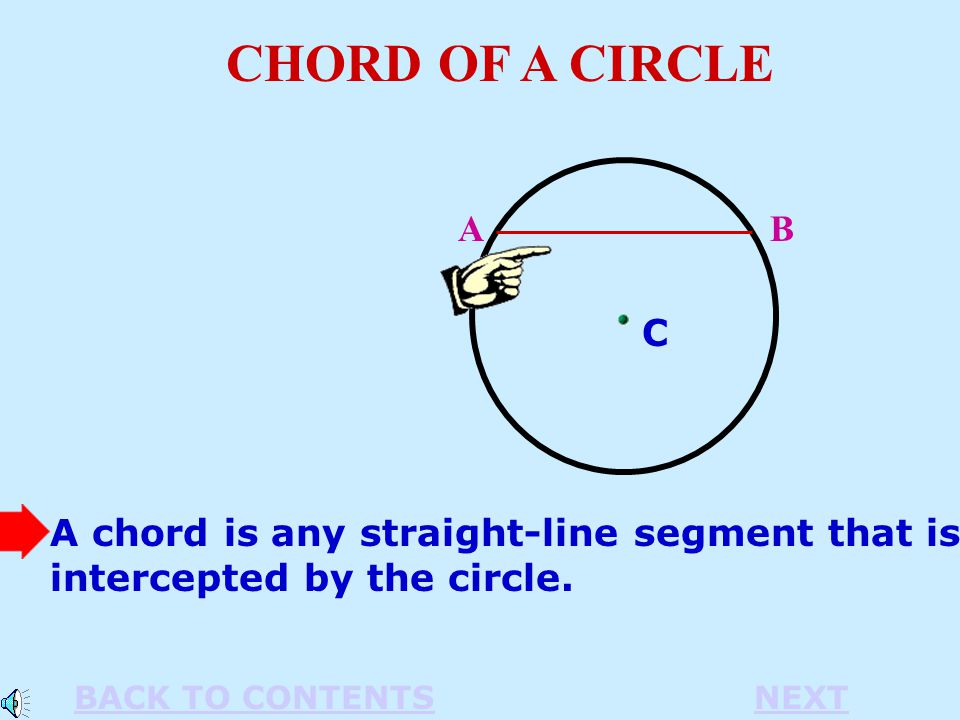 A chord is any straight-line segment that is intercepted by the circle.