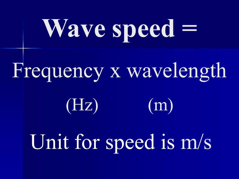 Wave speed = Frequency x wavelength (Hz) (m) Unit for speed is m/s
