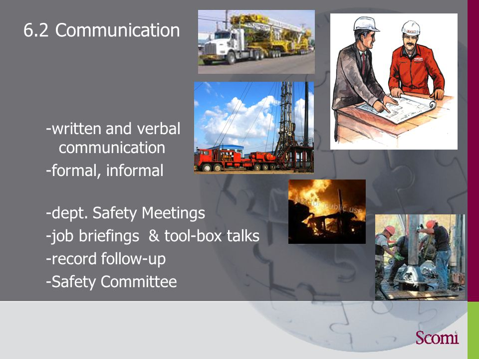 6.1 Training identify training needs improve competence mandatory training for - Fork-Lift Truck drivers - Heavy Equipment Operators - First Responders